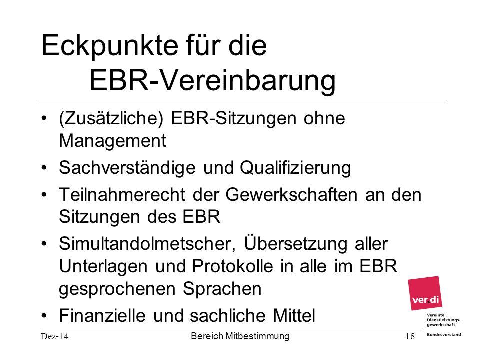 Dez-14 Bereich Mitbestimmung 18 Eckpunkte für die EBR-Vereinbarung (Zusätzliche) EBR-Sitzungen ohne Management Sachverständige und Qualifizierung Teil