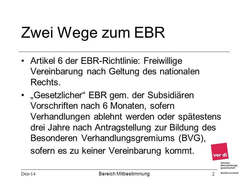 """Dez-14 Bereich Mitbestimmung 2 Zwei Wege zum EBR Artikel 6 der EBR-Richtlinie: Freiwillige Vereinbarung nach Geltung des nationalen Rechts. """"Gesetzlic"""