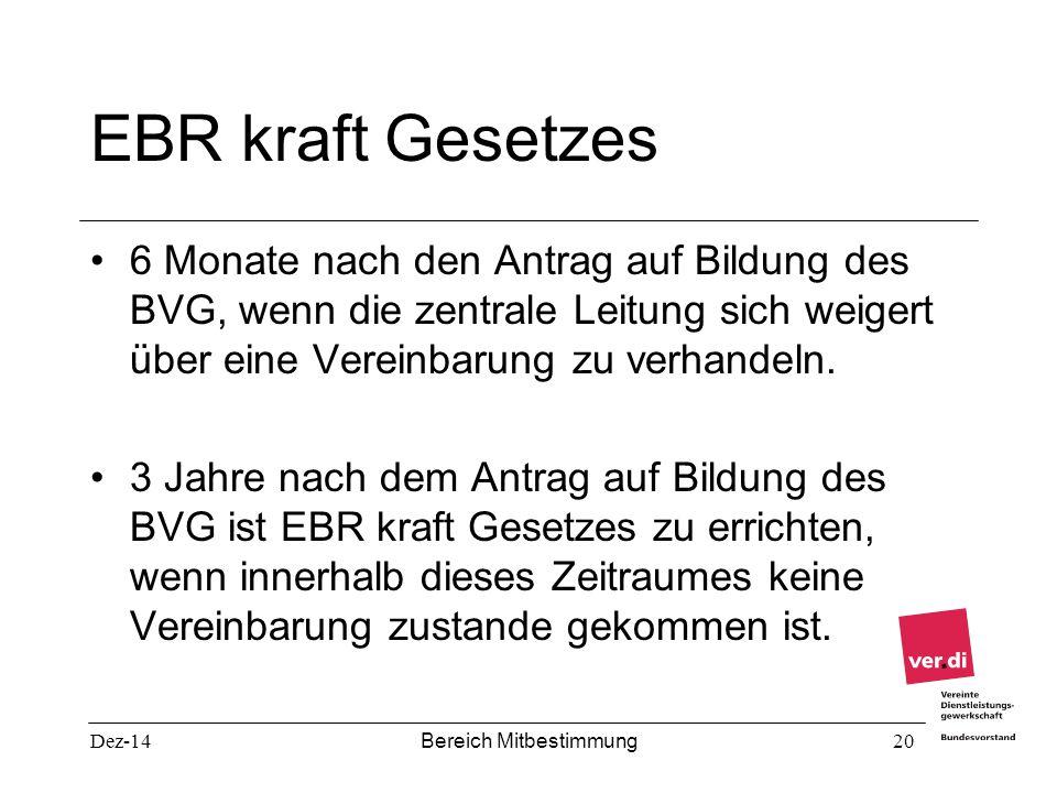 Dez-14 Bereich Mitbestimmung 20 EBR kraft Gesetzes 6 Monate nach den Antrag auf Bildung des BVG, wenn die zentrale Leitung sich weigert über eine Vere