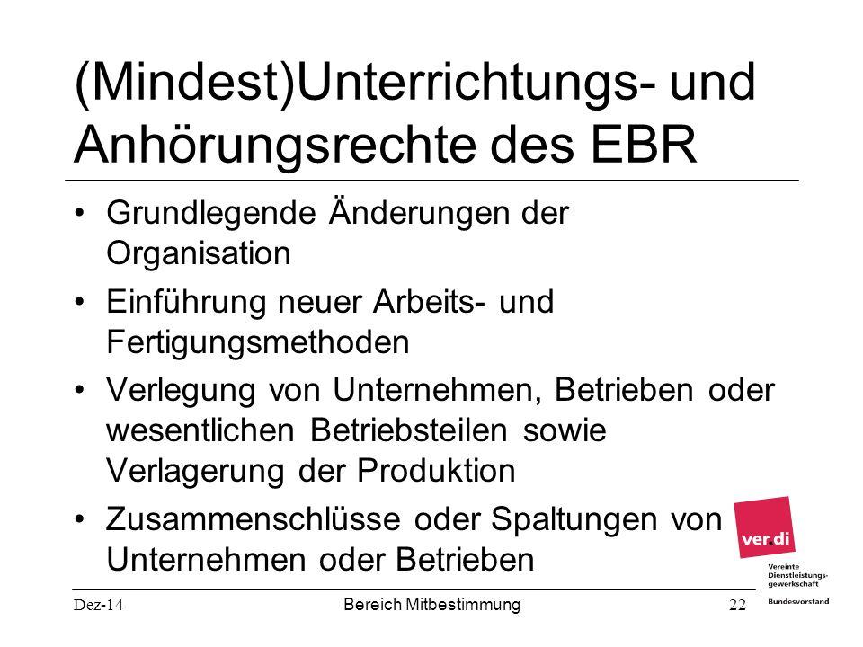 Dez-14 Bereich Mitbestimmung 22 (Mindest)Unterrichtungs- und Anhörungsrechte des EBR Grundlegende Änderungen der Organisation Einführung neuer Arbeits