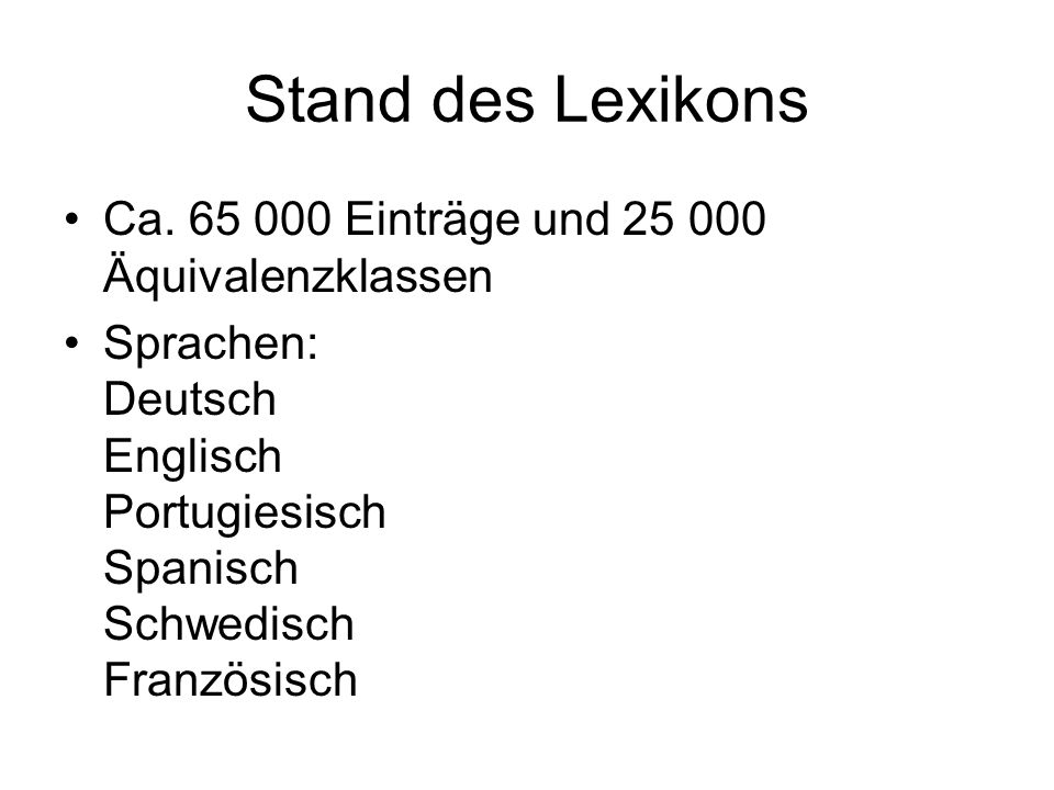 Stand des Lexikons Ca.