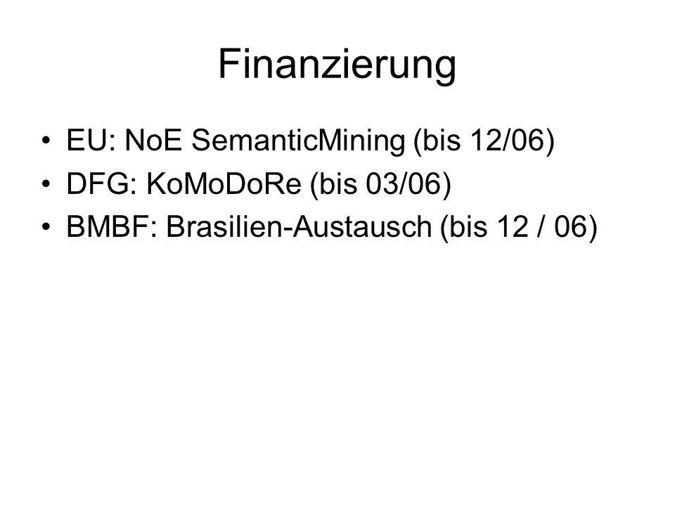 Finanzierung EU: NoE SemanticMining (bis 12/06) DFG: KoMoDoRe (bis 03/06) BMBF: Brasilien-Austausch (bis 12 / 06)