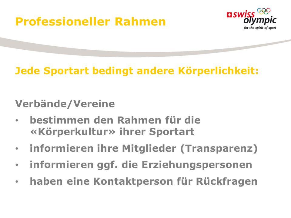 Professioneller Rahmen Jede Sportart bedingt andere Körperlichkeit: Verbände/Vereine bestimmen den Rahmen für die «Körperkultur» ihrer Sportart inform