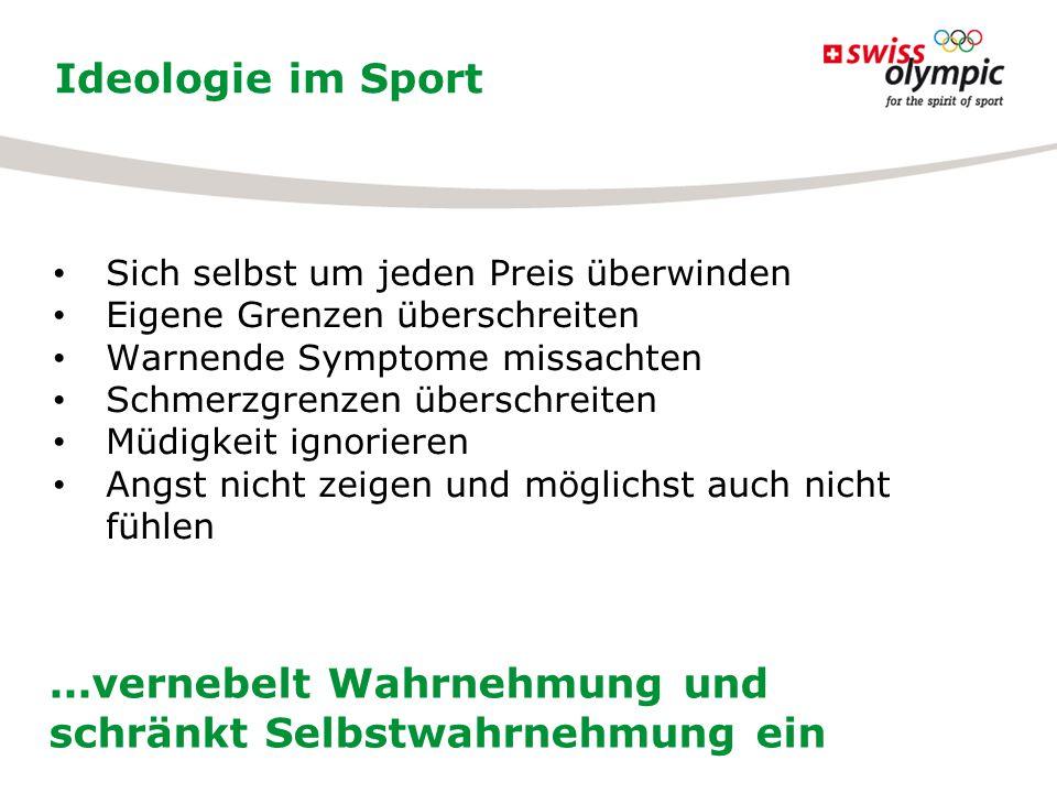 Ideologie im Sport...vernebelt Wahrnehmung und schränkt Selbstwahrnehmung ein Sich selbst um jeden Preis überwinden Eigene Grenzen überschreiten Warne
