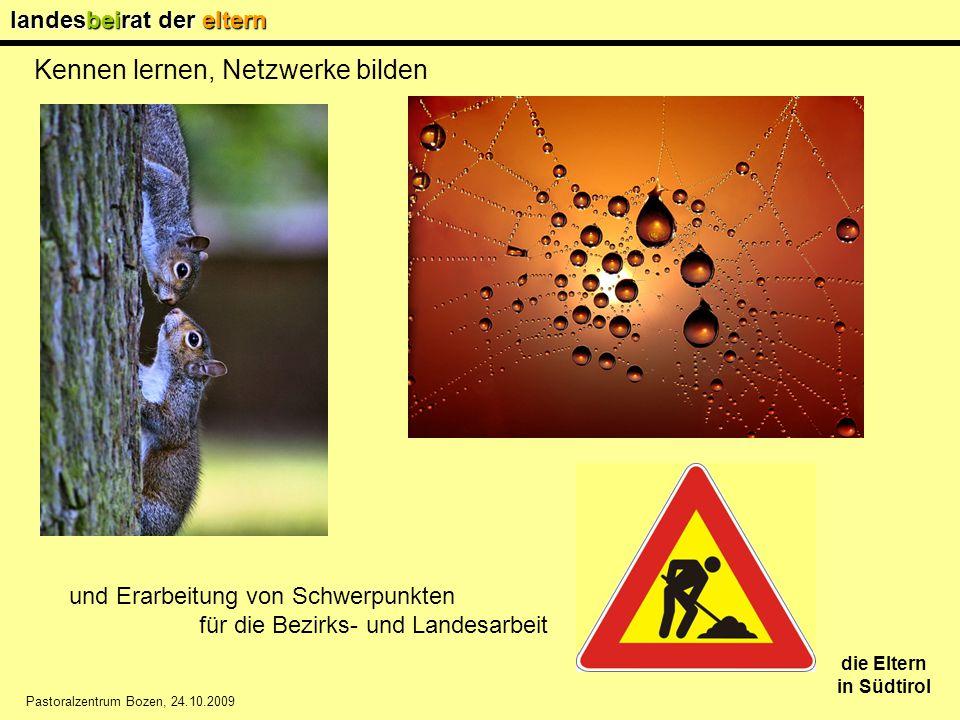 landesbeirat der eltern die Eltern in Südtirol Pastoralzentrum Bozen, 24.10.2009 Kennen lernen, Netzwerke bilden und Erarbeitung von Schwerpunkten.