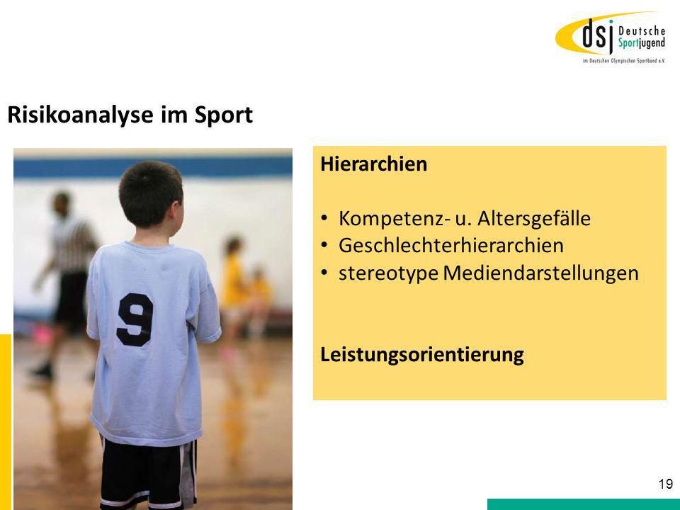 Risikoanalyse im Sport Hierarchien Kompetenz- u. Altersgefälle Geschlechterhierarchien stereotype Mediendarstellungen Leistungsorientierung 19