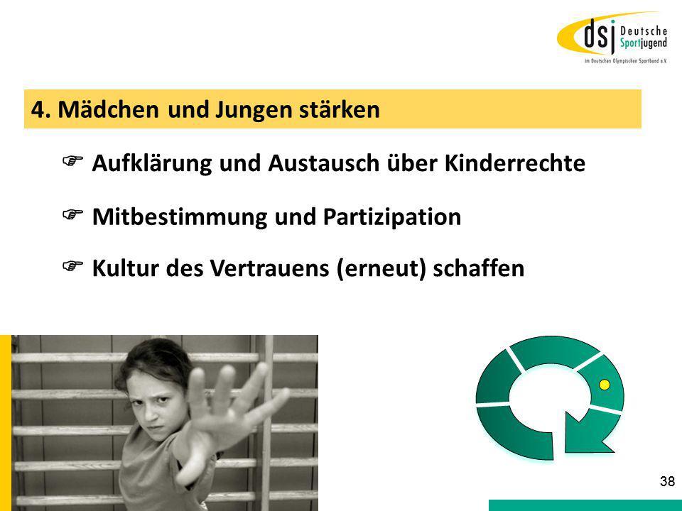 4. Mädchen und Jungen stärken  Aufklärung und Austausch über Kinderrechte  Mitbestimmung und Partizipation 38  Kultur des Vertrauens (erneut) schaf