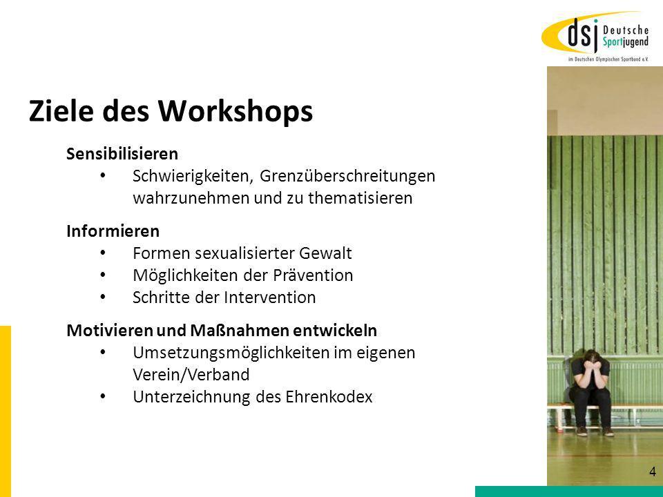 Ziele des Workshops Sensibilisieren Schwierigkeiten, Grenzüberschreitungen wahrzunehmen und zu thematisieren Informieren Formen sexualisierter Gewalt