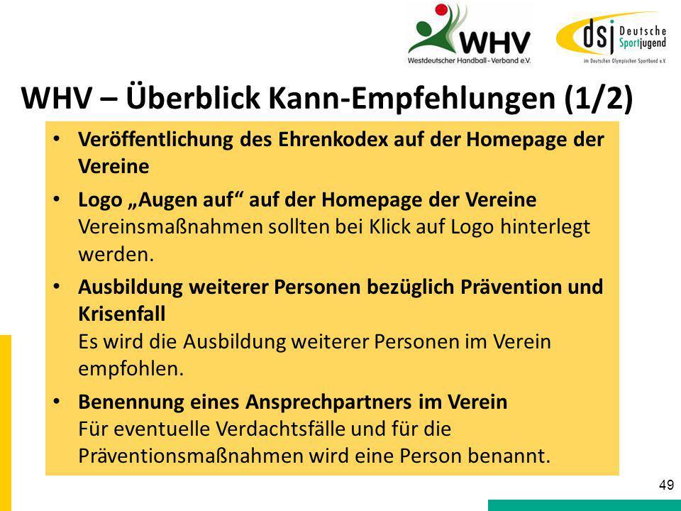 """49 WHV – Überblick Kann-Empfehlungen (1/2) Veröffentlichung des Ehrenkodex auf der Homepage der Vereine Logo """"Augen auf"""" auf der Homepage der Vereine"""