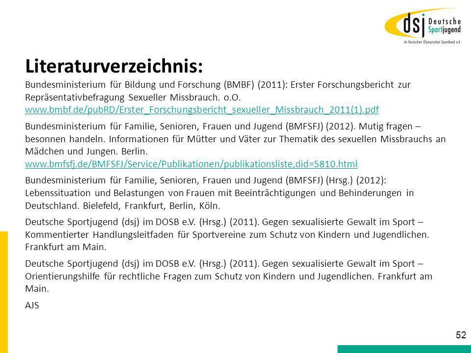 Literaturverzeichnis: Bundesministerium für Bildung und Forschung (BMBF) (2011): Erster Forschungsbericht zur Repräsentativbefragung Sexueller Missbra