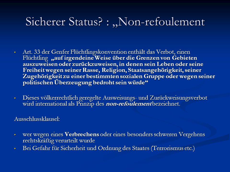 "Sicherer Status.: ""Non-refoulement Art."