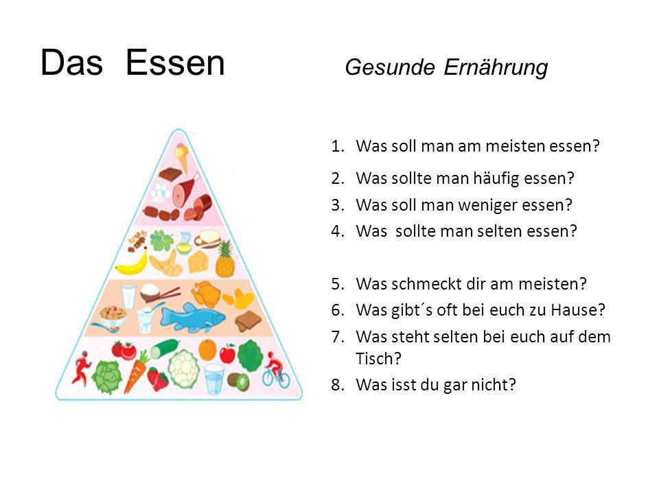 Das Essen Gesunde Ernährung 1.Was soll man am meisten essen? 2.Was sollte man häufig essen? 3.Was soll man weniger essen? 4.Was sollte man selten esse