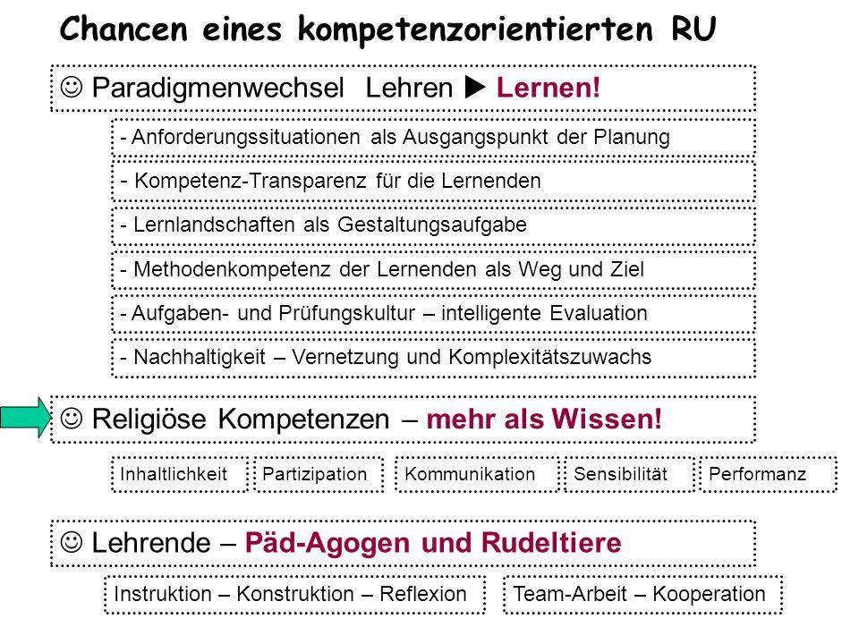 Chancen eines kompetenzorientierten RU Paradigmenwechsel Lehren  Lernen! Religiöse Kompetenzen – mehr als Wissen! - Anforderungssituationen als Ausga