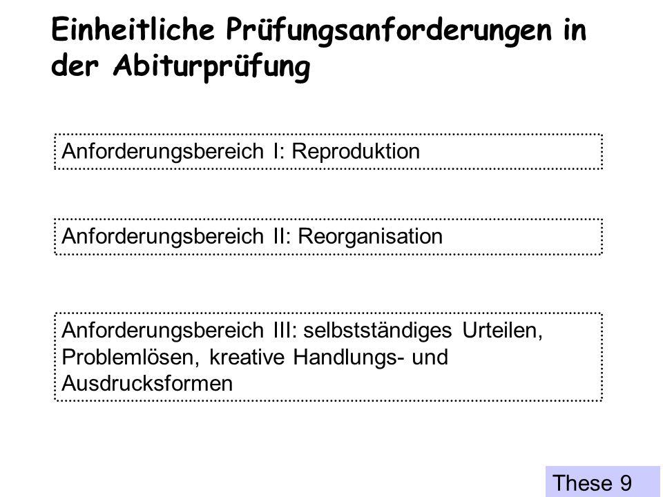 Einheitliche Prüfungsanforderungen in der Abiturprüfung Anforderungsbereich I: Reproduktion Anforderungsbereich II: Reorganisation Anforderungsbereich