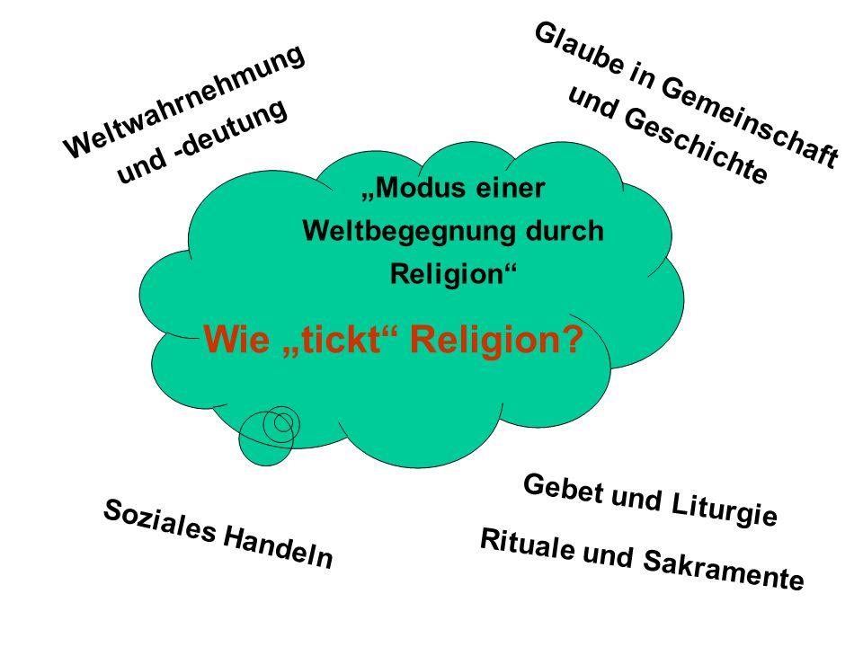 """""""Modus einer Weltbegegnung durch Religion"""" Weltwahrnehmung und -deutung Glaube in Gemeinschaft und Geschichte Soziales Handeln Gebet und Liturgie Ritu"""