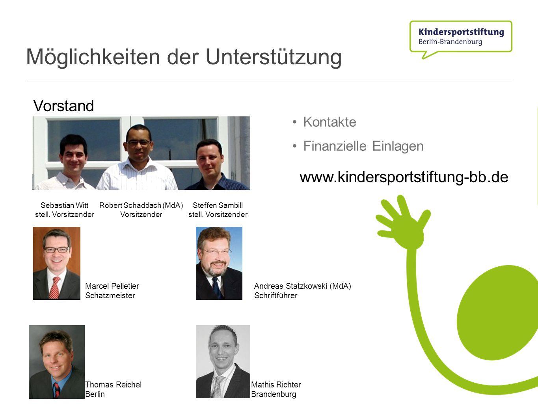 Möglichkeiten der Unterstützung Kontakte Finanzielle Einlagen Vorstand Robert Schaddach (MdA) Vorsitzender Steffen Sambill stell. Vorsitzender Sebasti
