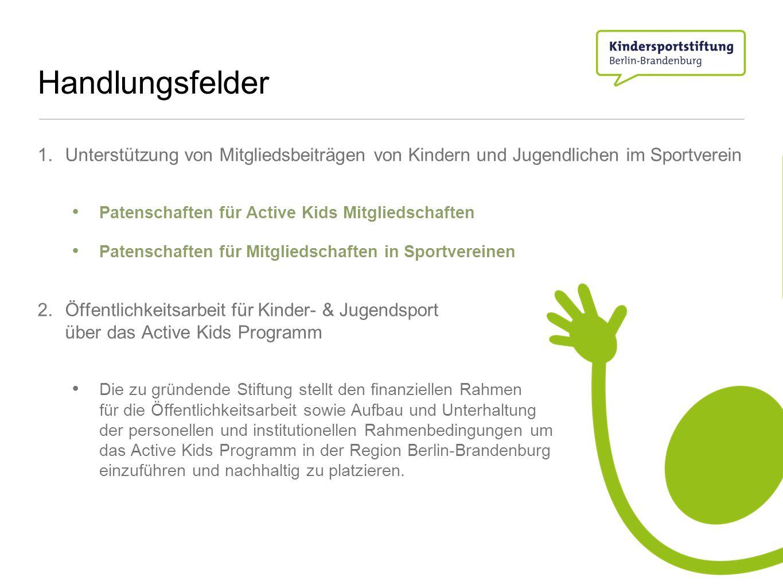 Handlungsfelder 1. Unterstützung von Mitgliedsbeiträgen von Kindern und Jugendlichen im Sportverein Patenschaften für Active Kids Mitgliedschaften Pat