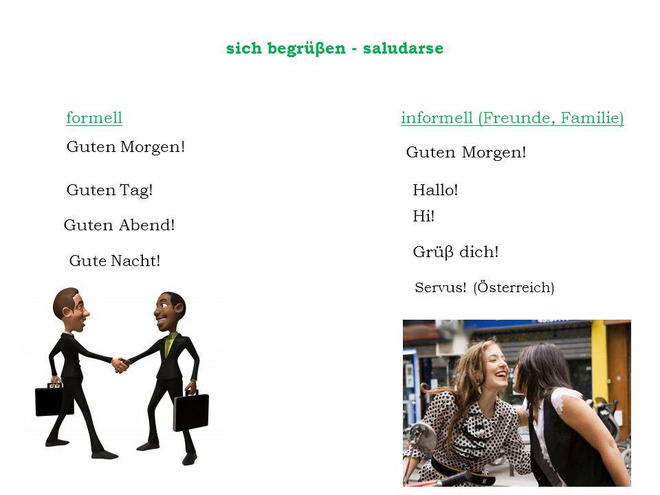 formell informell (Freunde, Familie) Guten Morgen ! Hallo! Guten Tag! Guten Abend! Hi! Grüβ dich! Servus! (Österreich) Guten Morgen! sich begrüβen - s