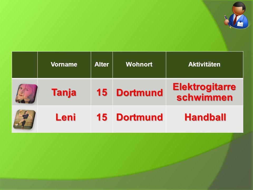 VornameAlterWohnortAktivitätenTanja15 Dortmund Elektrogitarre schwimmen Leni15DortmundHandball