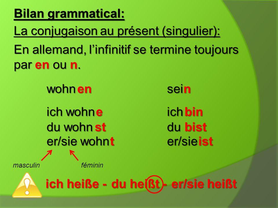 Bilan grammatical: La conjugaison au présent (singulier): En allemand, l'infinitif se termine toujours par en ou n.
