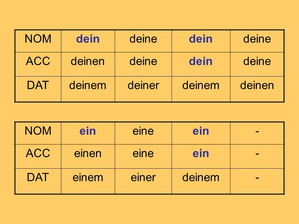 NOMdeindeinedeindeine ACCdeinendeinedeindeine DATdeinemdeinerdeinemdeinen NOMeineineein- ACCeineneineein- DATeinemeinerdeinem-