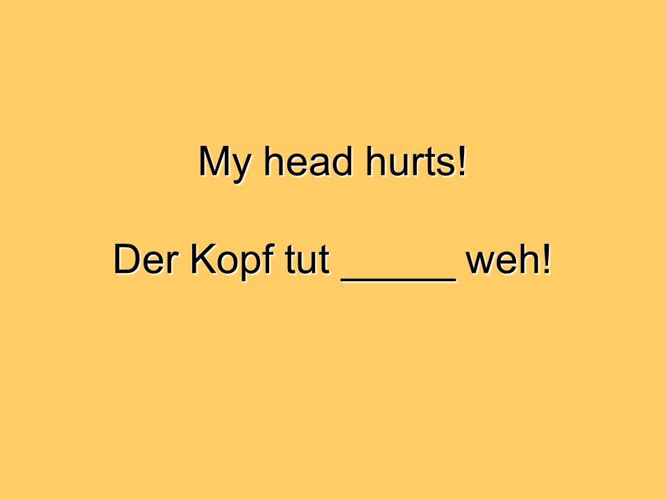 My head hurts! Der Kopf tut _____ weh!