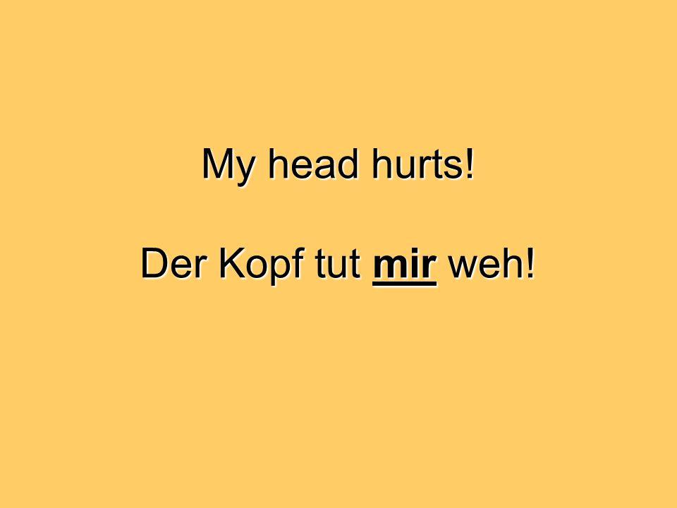 My head hurts! Der Kopf tut mir weh!