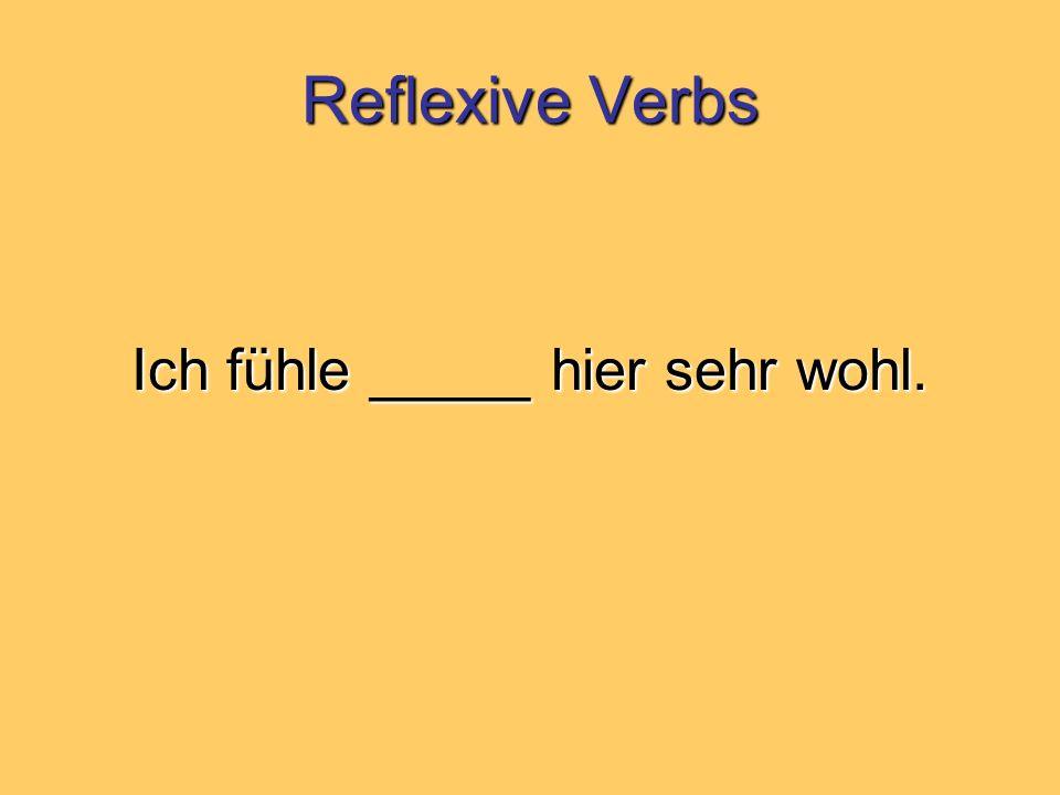 Reflexive Verbs Ich fühle _____ hier sehr wohl.