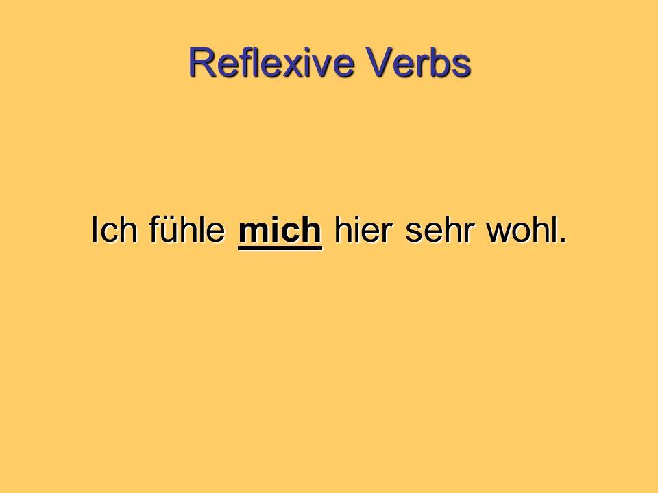 Reflexive Verbs Ich fühle mich hier sehr wohl.