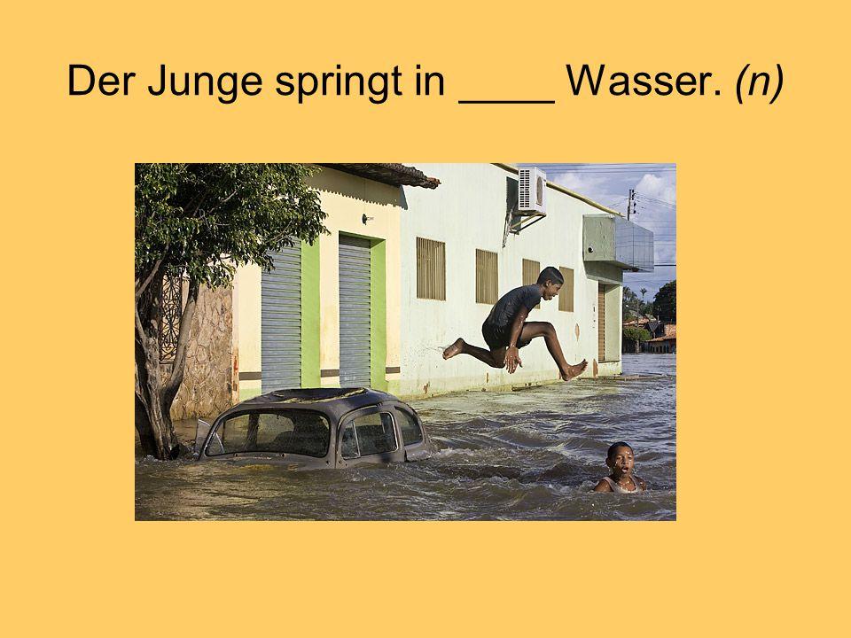 Der Junge springt in ____ Wasser. (n)