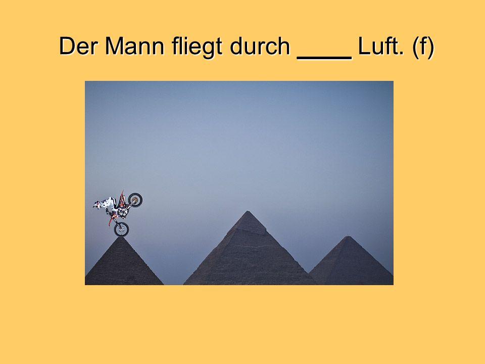 Der Mann fliegt durch ____ Luft. (f)