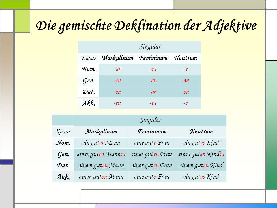 Die gemischte Deklination der Adjektive Singular KasusMaskulinumFemininumNeutrum Nom.-er-es-e Gen.-en Dat.-en Akk.-en-es-e Singular KasusMaskulinumFem