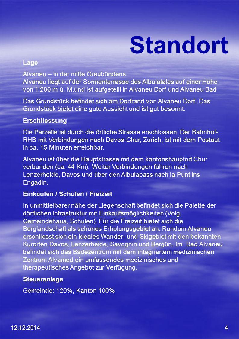 12.12.20144 Standort Lage Alvaneu – in der mitte Graubündens Alvaneu liegt auf der Sonnenterrasse des Albulatales auf einer Höhe von 1'200 m ü. M.und