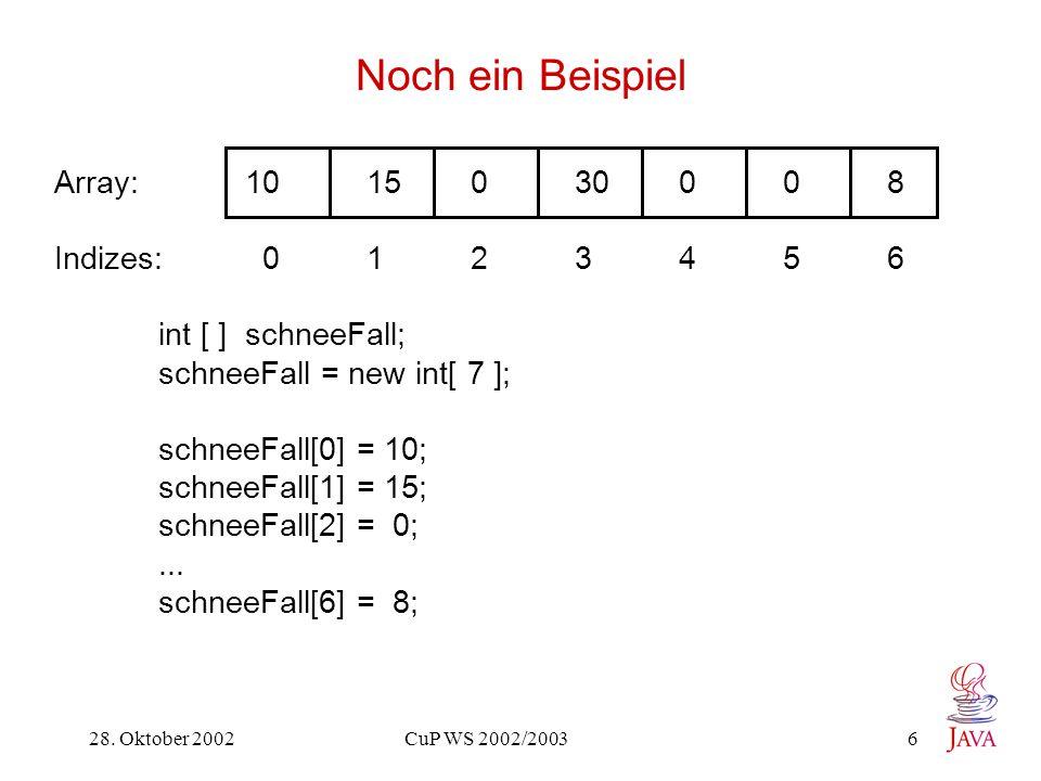 28. Oktober 2002 CuP WS 2002/2003 6 Noch ein Beispiel Array: 1015 0 30 0 08 Indizes: 0123456 int [ ] schneeFall; schneeFall = new int[ 7 ]; schneeFall
