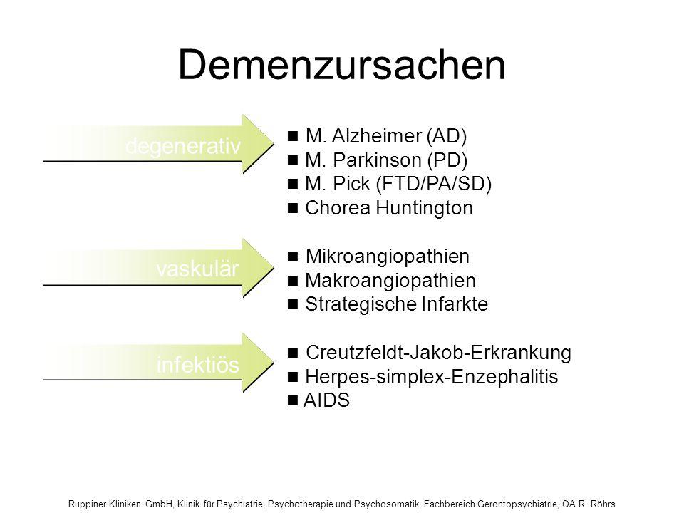 Ruppiner Kliniken GmbH, Klinik für Psychiatrie, Psychotherapie und Psychosomatik, Fachbereich Gerontopsychiatrie, OA R. Röhrs Demenzursachen Creutzfel