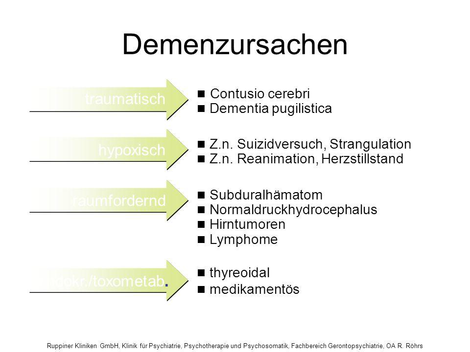 Ruppiner Kliniken GmbH, Klinik für Psychiatrie, Psychotherapie und Psychosomatik, Fachbereich Gerontopsychiatrie, OA R. Röhrs Demenzursachen thyreoida