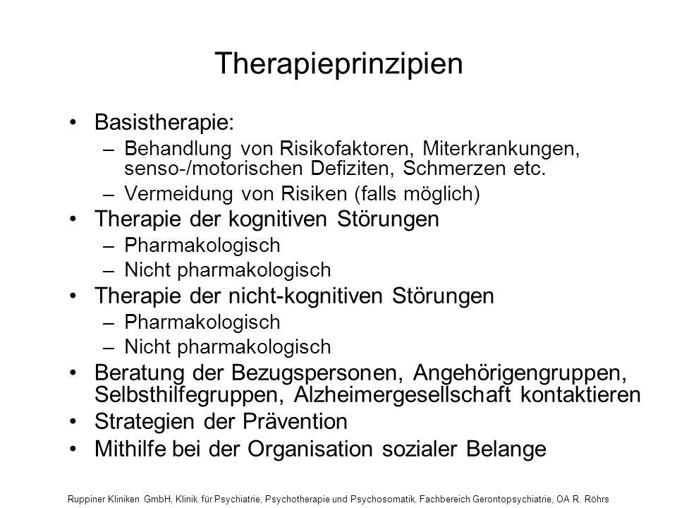 Ruppiner Kliniken GmbH, Klinik für Psychiatrie, Psychotherapie und Psychosomatik, Fachbereich Gerontopsychiatrie, OA R. Röhrs Therapieprinzipien Basis