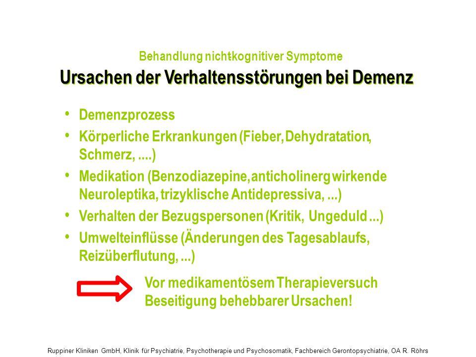 Ruppiner Kliniken GmbH, Klinik für Psychiatrie, Psychotherapie und Psychosomatik, Fachbereich Gerontopsychiatrie, OA R. Röhrs Ursachen der Verhaltenss