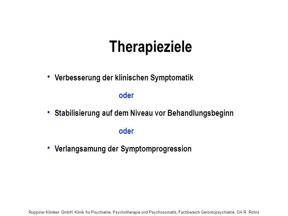 Ruppiner Kliniken GmbH, Klinik für Psychiatrie, Psychotherapie und Psychosomatik, Fachbereich Gerontopsychiatrie, OA R. Röhrs Therapieziele Verbesseru