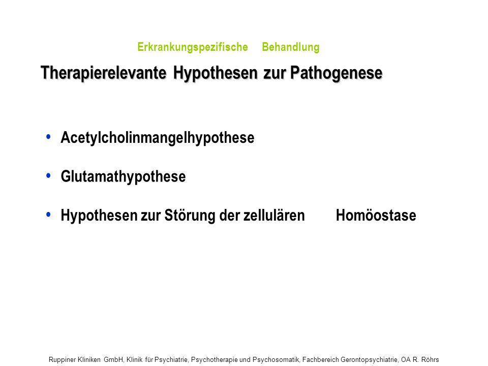 Ruppiner Kliniken GmbH, Klinik für Psychiatrie, Psychotherapie und Psychosomatik, Fachbereich Gerontopsychiatrie, OA R. Röhrs Therapierelevante Hypoth