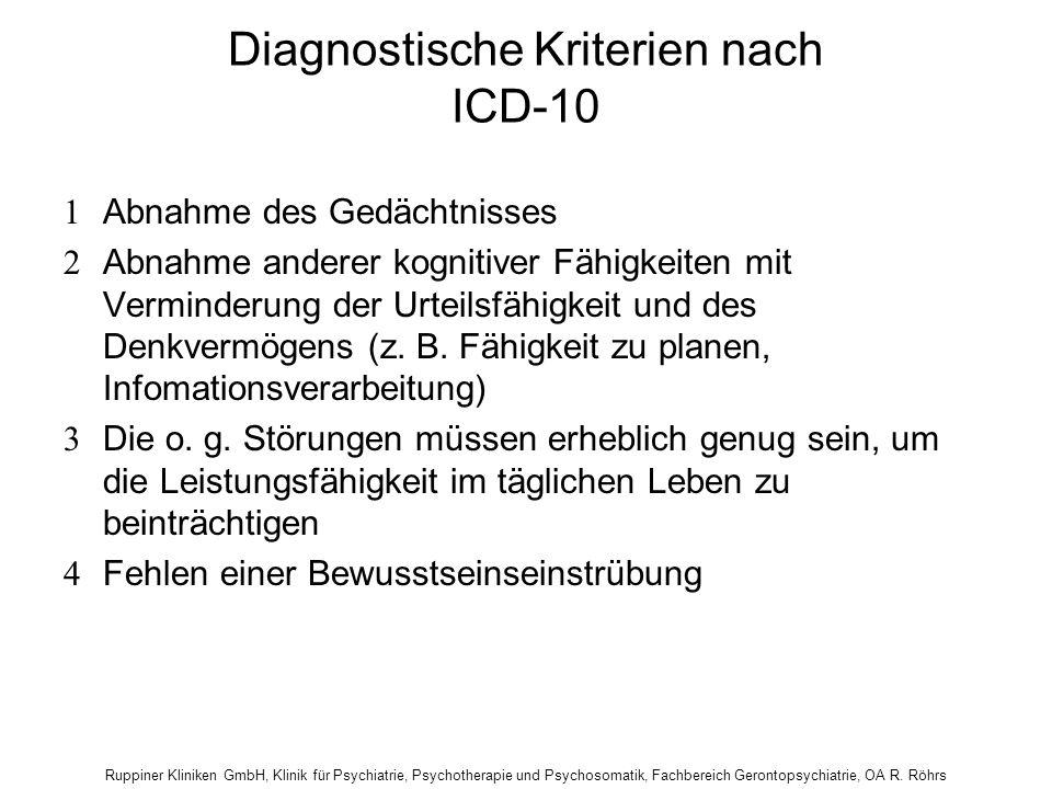 Diagnostische Kriterien nach ICD-10  Abnahme des Gedächtnisses  Abnahme anderer kognitiver Fähigkeiten mit Verminderung der Urteilsfähigkeit und des