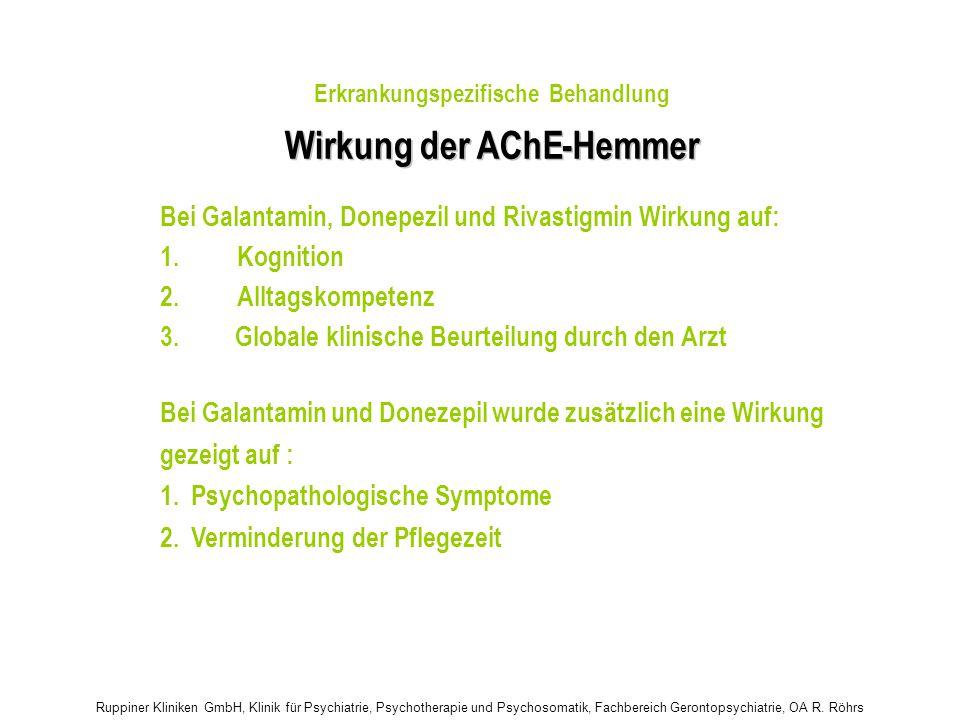 Ruppiner Kliniken GmbH, Klinik für Psychiatrie, Psychotherapie und Psychosomatik, Fachbereich Gerontopsychiatrie, OA R. Röhrs Wirkung der AChE - - Hem