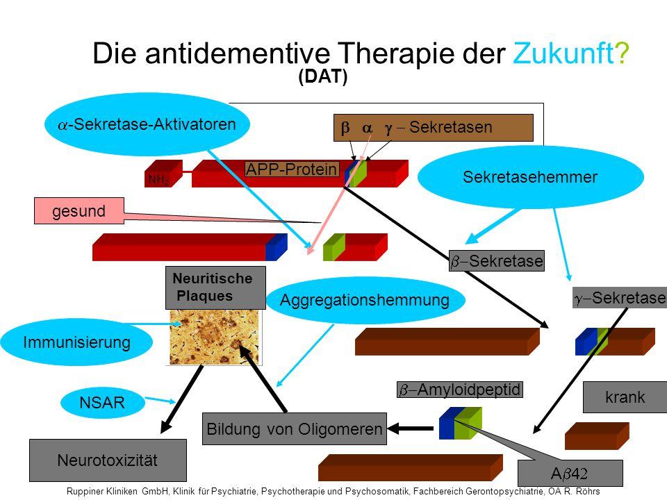 Ruppiner Kliniken GmbH, Klinik für Psychiatrie, Psychotherapie und Psychosomatik, Fachbereich Gerontopsychiatrie, OA R. Röhrs Die antidementive Therap