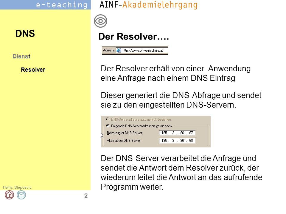 Heinz Slepcevic 3 DienstResolverTests DNS Mit ipconfig /all können alle eingestellten DNS Server angezeigt werden.