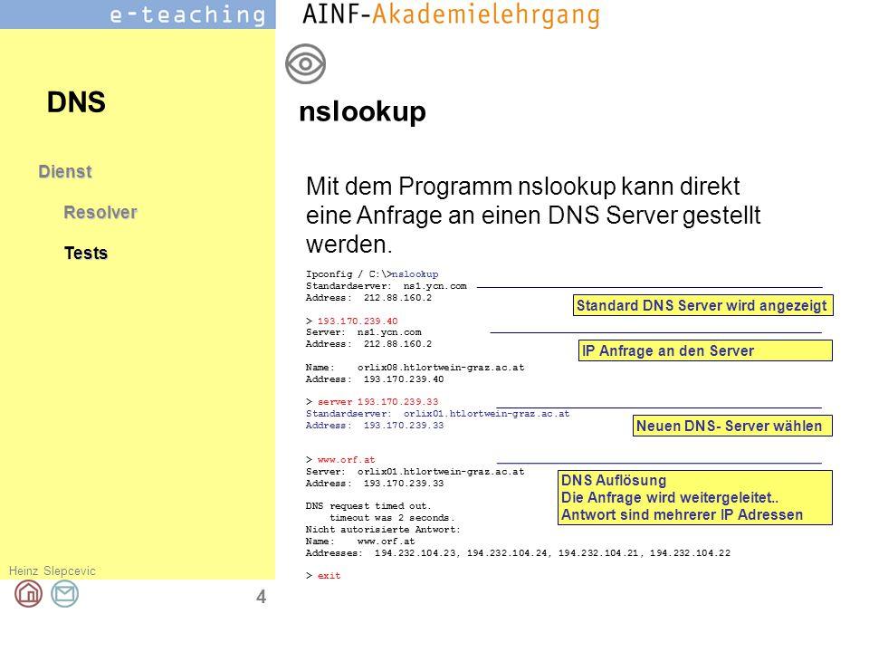 Heinz Slepcevic 5 DienstResolverTestsDomain DNS Ein vollständiger DNS Name eines Computers besteht aus zwei Teilen: Hostname Domainname Eine Domain ist eine Verwaltungseinheit für die ein DNS Server existiert, der eine Liste aller Rechner dieser Domain gespeichert hat.