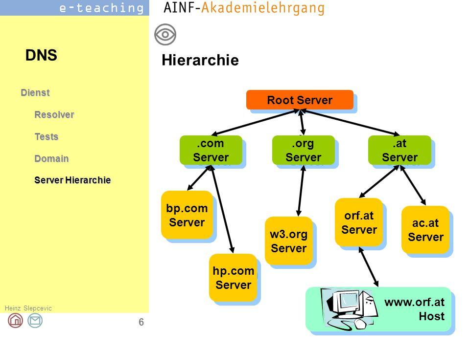 Heinz Slepcevic 7 DienstResolverTestsDomain Server Hierarchie Server DNS Server - Entscheidungen Der abgefragte Name liegt in..meiner Domäne (Zone) Aus der internen Tabelle wird die zugehörige IP Adresse ausgelesen und zurückgegeben...einer Domäne, für die ein anderer DNS Server fest eingetragen ist Die Anfrage wird an diesen Server weitergeleitet.
