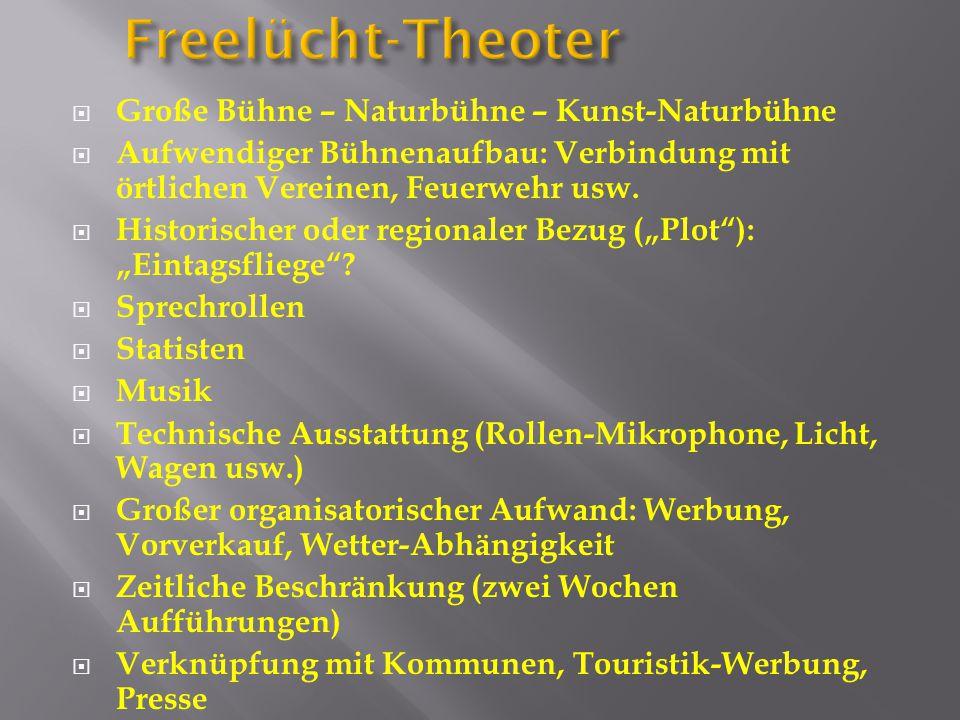 Freelücht-Theoter  Große Bühne – Naturbühne – Kunst-Naturbühne  Aufwendiger Bühnenaufbau: Verbindung mit örtlichen Vereinen, Feuerwehr usw.