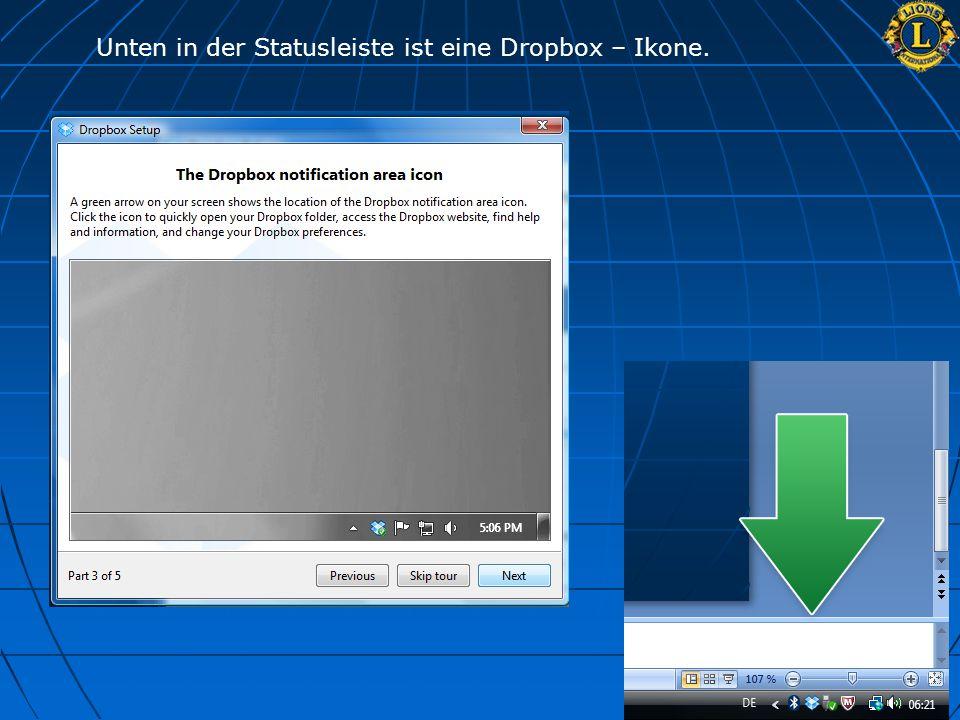 Unten in der Statusleiste ist eine Dropbox – Ikone.