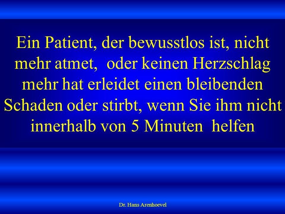 HERZMASSAGE BEIM MENSCHEN wird in Rückenlage durchgeführt Dr. Hans Arenhoevel