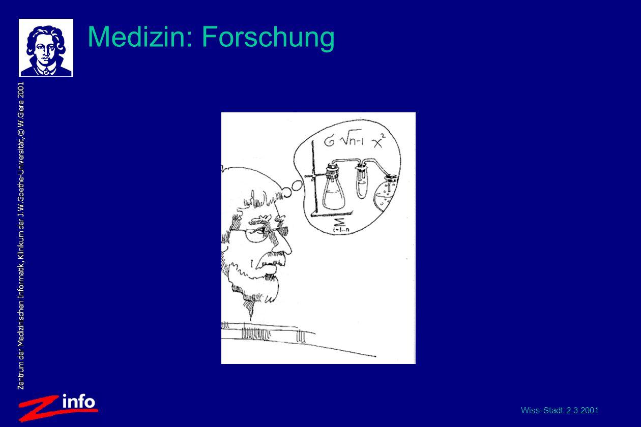 Wiss-Stadt 2.3.2001 Zentrum der Medizinischen Informatik, Klinikum der J.W.Goethe-Universität, © W.Giere 2001 Medizin: Forschung